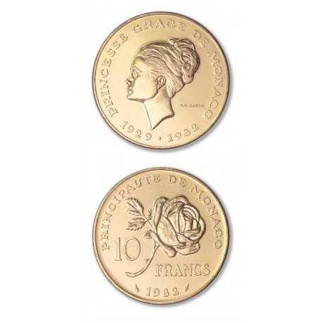 Princess Grace,10 Francs, Gold 1982 Monaco