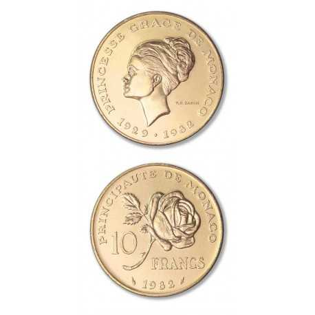 Princess Grace,10 Francs, Gold 1982 Monaco