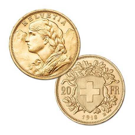 Swiss Gold 20 Frank Helvetia 1927-1949