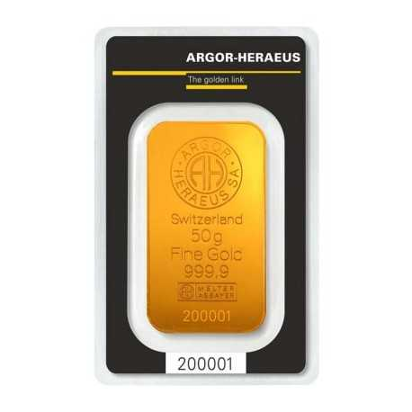 50gr, Argor-Heraeus Gold Bar (Switzerland)