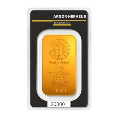 50gr, Argor-Heraeus Gold Bar (Switzerland)