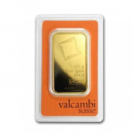 100g Gold Bullion / Bar Valcambi