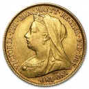Great Britain Gold 1/2 Sov Victoria Veil Head Avg Circ