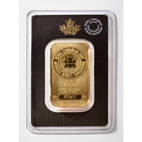 1 oz - Royal Canadian Gold Bar New Design
