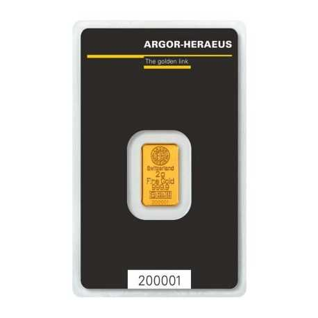 2 gr Argor Heraeus Gold Bar