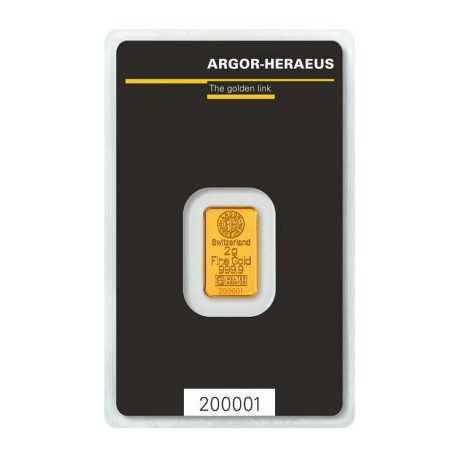 2 gr Argor Heraeus Gold Bar