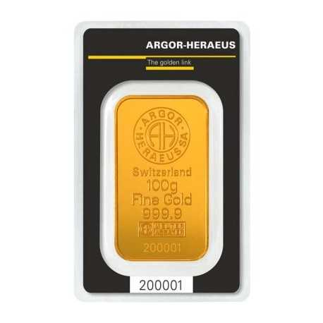 100 gr.  Argor Heraeus Gold Bar