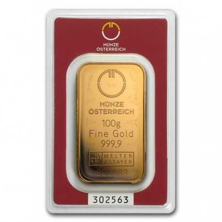 Austrian Mint  Gold Bar  100 gr