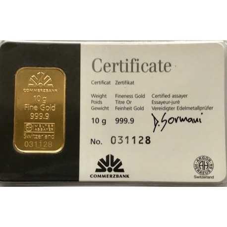 10 gr. Argor Heraeus Gold Bar Commerzbank