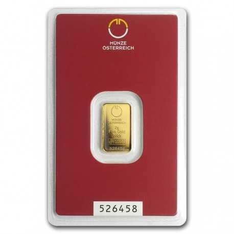 Austrian Mint Gold Bar 2 gr. Kinebar