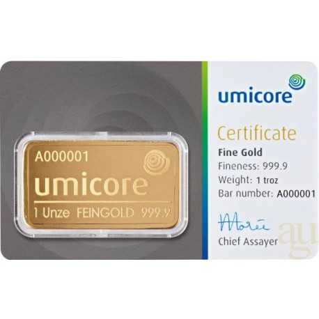 1 oz Gold Bar Umicore