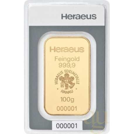 100 gr Gold Bar Heraeus Hanau