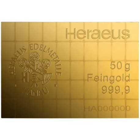 50 x 1 gr Heraeus combination Gold bars