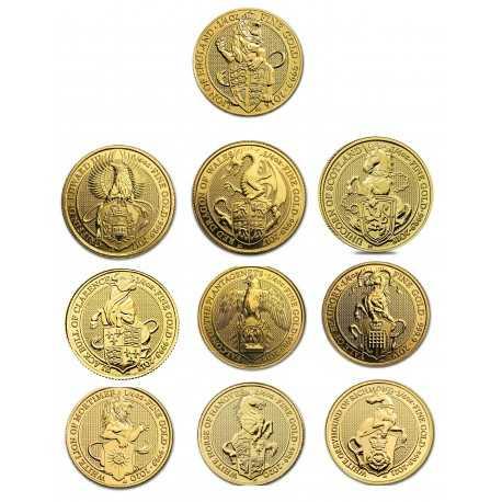 Queen's Beasts Set, 1/4 oz. Gold, 5 coins