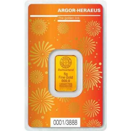 5gr Gold Bar Argor Hereaus Lunar OX