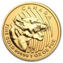 Growling Cougar, , 1oz Gold, 2015 Canada