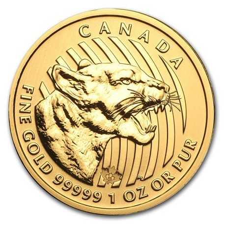 Growling Cougar, , 1oz Gold, 2015 Canada