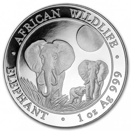 Somalia Elephant, African Wildlife, 100 Shilling, 1oz Silver, 2014