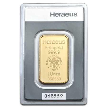 1oz Gold Bullion | Heraeus Gold Bar | 31.1gr