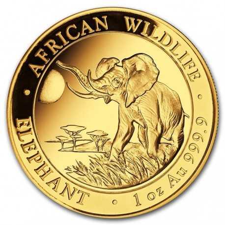 Somalia Elephant, African Wildlife,  1oz Gold, 2016