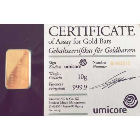 10gr Gold Bullion/ Bar Umicore