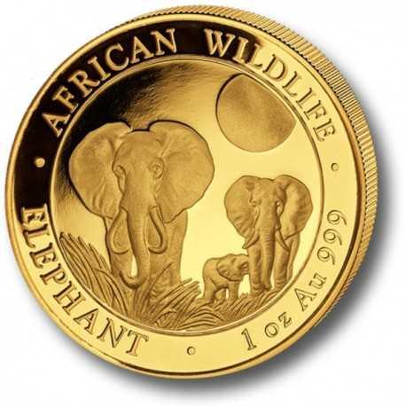 Somalia Elephant, African Wildlife, 1000 Shilling, 1oz Gold, 2014