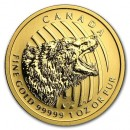 Roaring Grizzly Bear, 1 oz. Gold, 2016 Canada