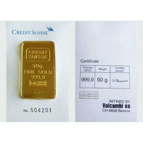 50g Gold Bullion / Bar Credit Suisse