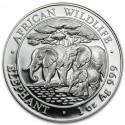 Somalia Elephant  African Wildlife  1oz Silver  2013