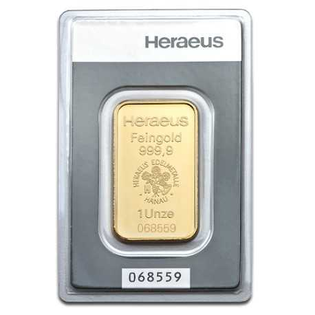 1oz Gold Bullion | Heraeus Gold Bar | 31.1gr